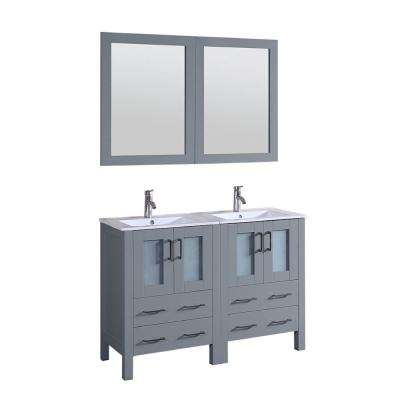 48 in. W Double Bath Vanity in Gray with Ceramic Vanity Top in Gray with White Basin and Mirror