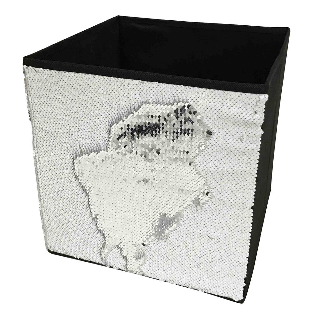 12 in. x 12 in. White Linen and Sequin Storage Bin