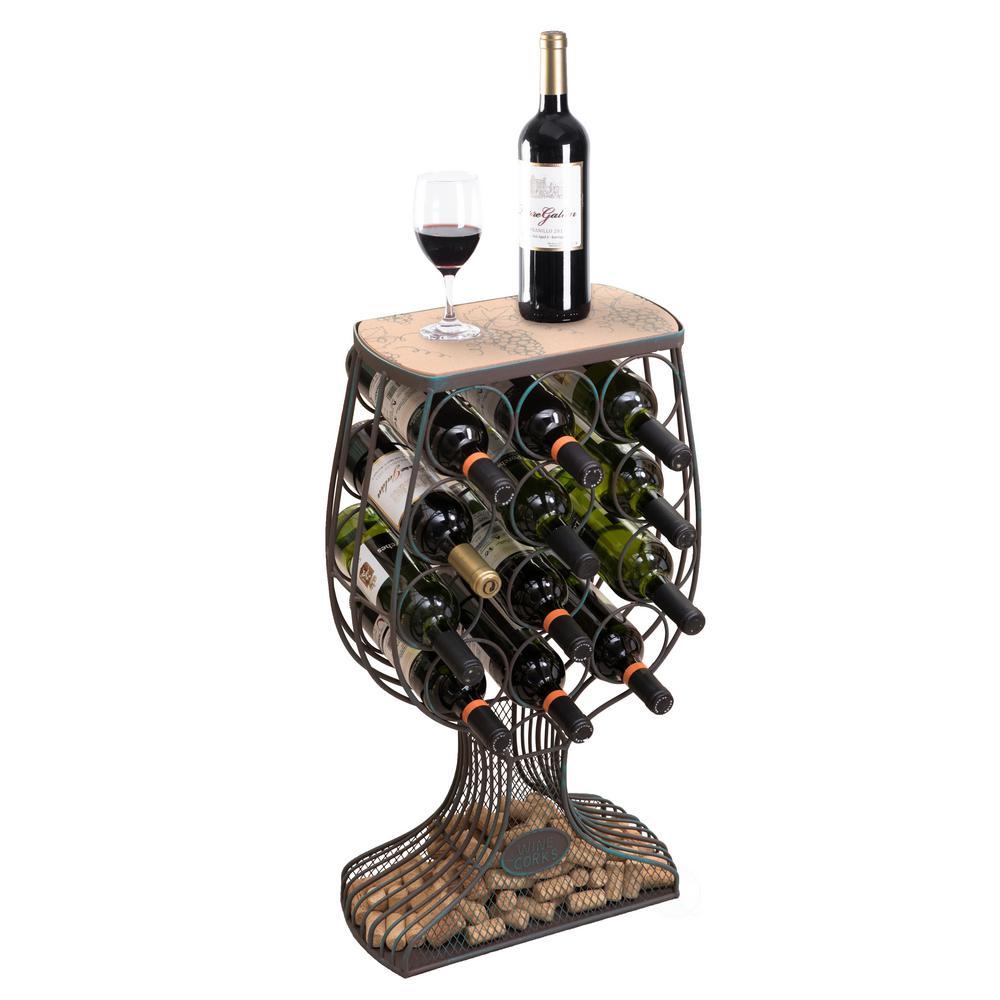 Vintage Decorative Wooden Metal Goblet Shaped Freestanding Wine Rack with Cork Holder
