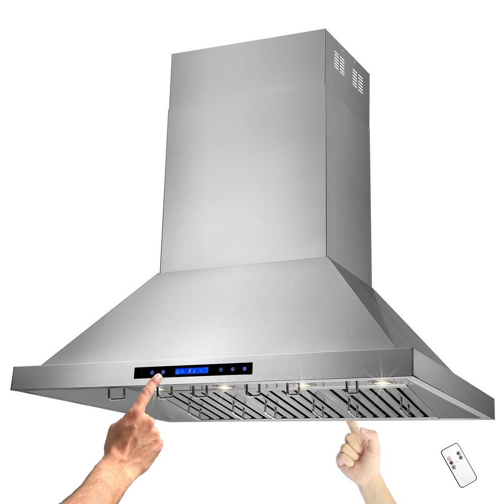 48 in. Kitchen Dual Motor Island Mount Range Hood in Stainless