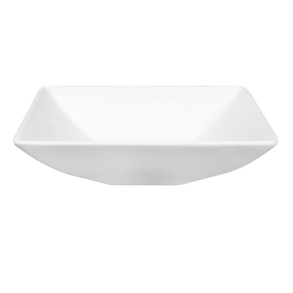Laura Solid Surface Vessel Bathroom Sink in White