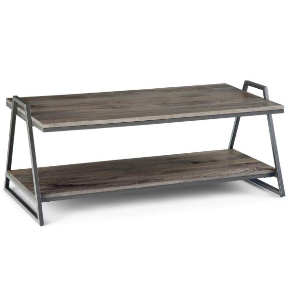 Contemporary Coffee Table.Simpli Home Braxton Solid Mango Wood And Metal 46 In Carbon Stain