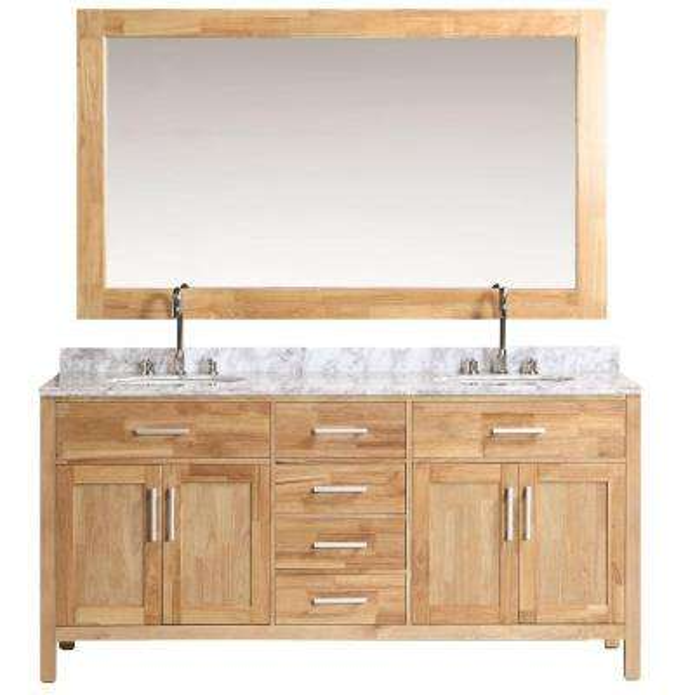 London 72 in. W x 22 in. D Vanity in Oak with Marble Vanity Top and Mirror in Carrara White