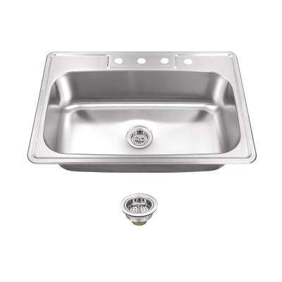 Drop-In Stainless Steel 33 in. 4-Hole Single Bowl Kitchen Sink with Drain Assembly