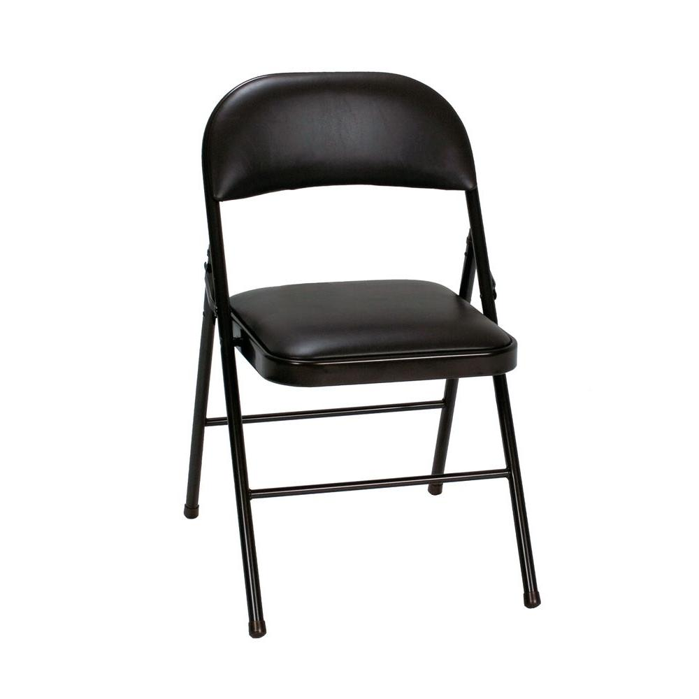 Cosco Black Vinyl Padded Seat Stackable Folding Chair Set Of 4 14993blk4e The Home Depot