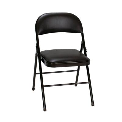 Black Vinyl Seat and Back Folding Chairs (4-Pack)