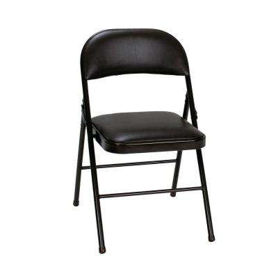 Vinyl Seat and Back Folding Chairs in Black (4-Pack)