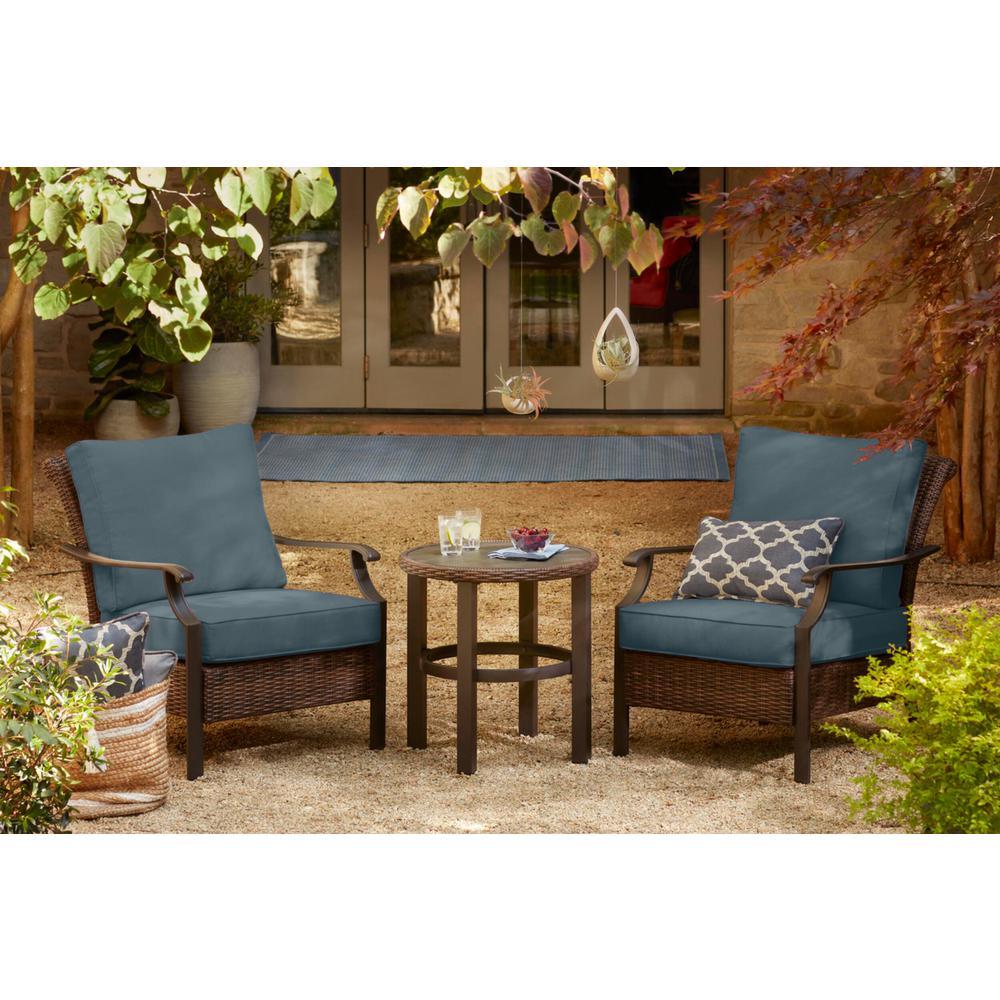 Harper Creek 3-Piece Brown Steel Outdoor Patio Chair Set with Sunbrella Denim Blue Cushions