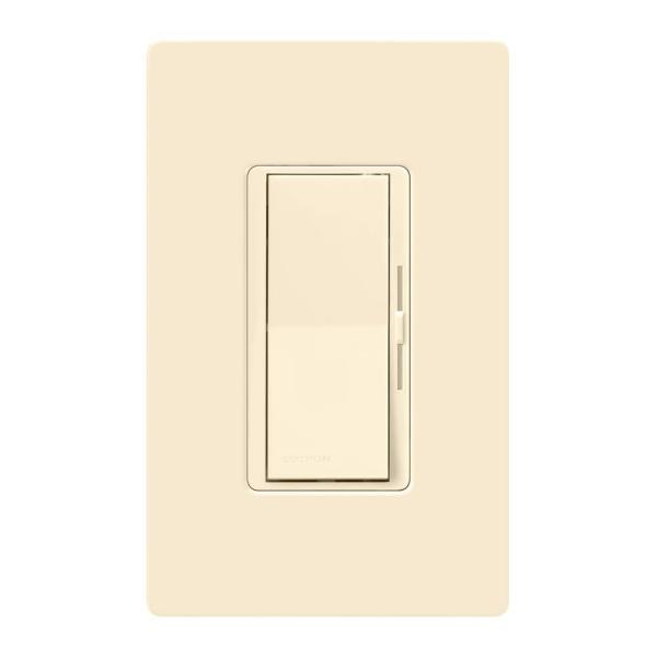 Diva LED+ Dimmer Switch for Dimmable LED, Halogen and Incandescent Bulbs, Single-Pole/3-Way, w/ Wallplate, Light Almond