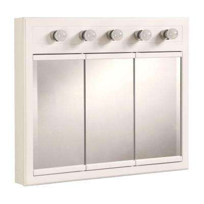 Concord 36 in. W x 30 in. H x 5 in. D Framed 5-Light Tri-View Surface-Mount Bathroom Medicine Cabinet in White Gloss