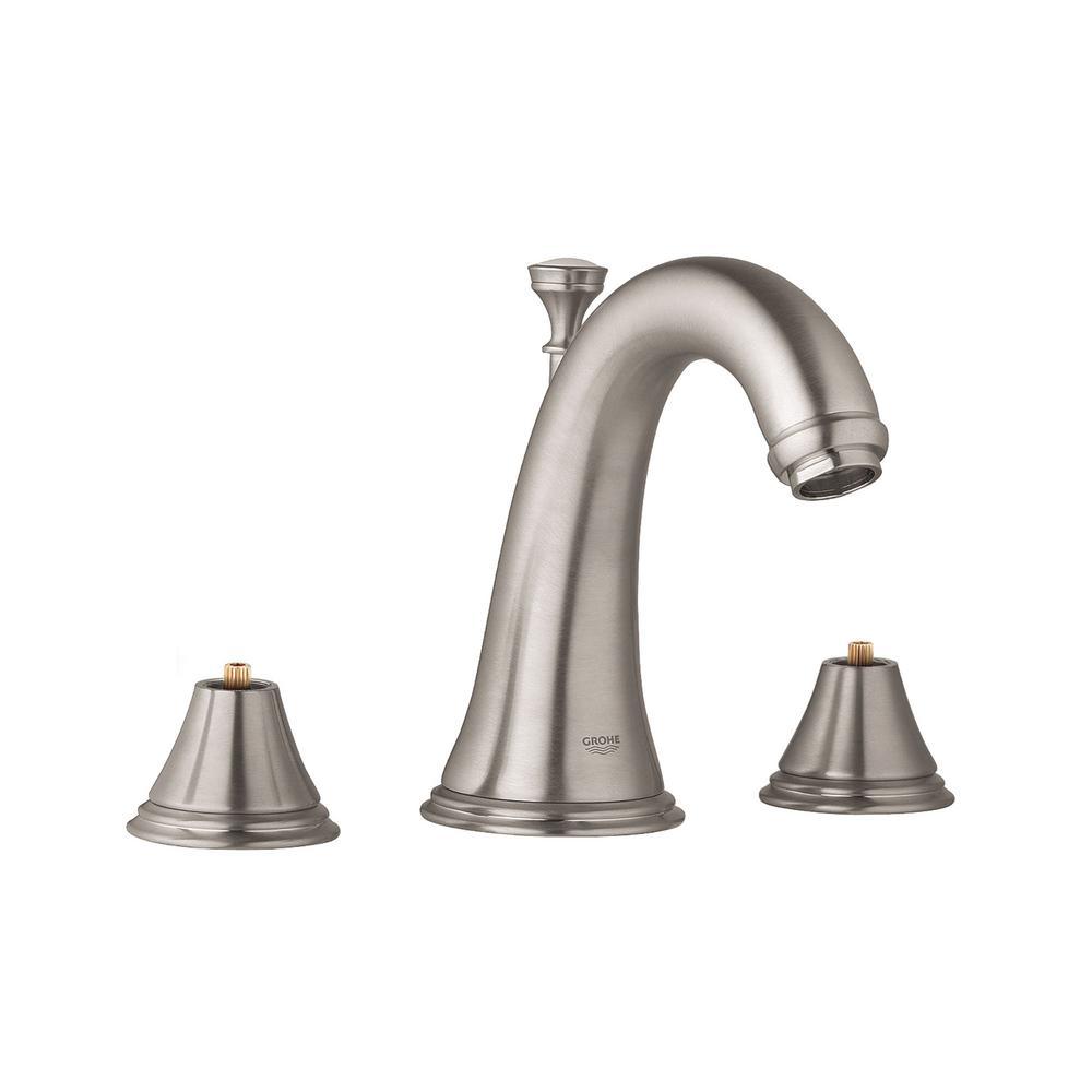 Geneva 8 in. Widespread 2-Handle 1.2 GPM Bathroom Faucet in Nickel InfinityFinish