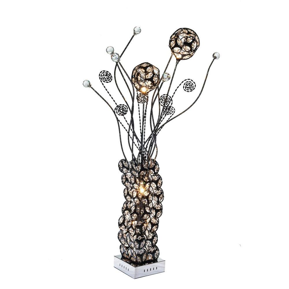 34 in. Black Table Lamp with Crystals Pictured with Warm White