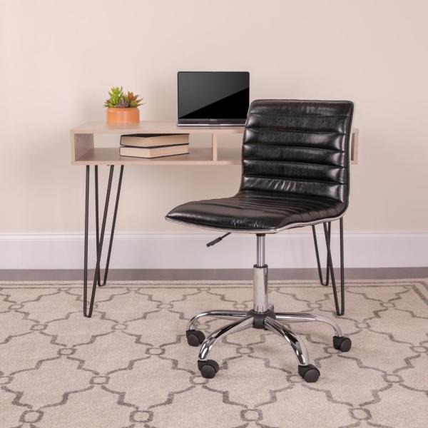 Flash Furniture Low Back Armless Black Ribbed Designer Swivel Task Chair