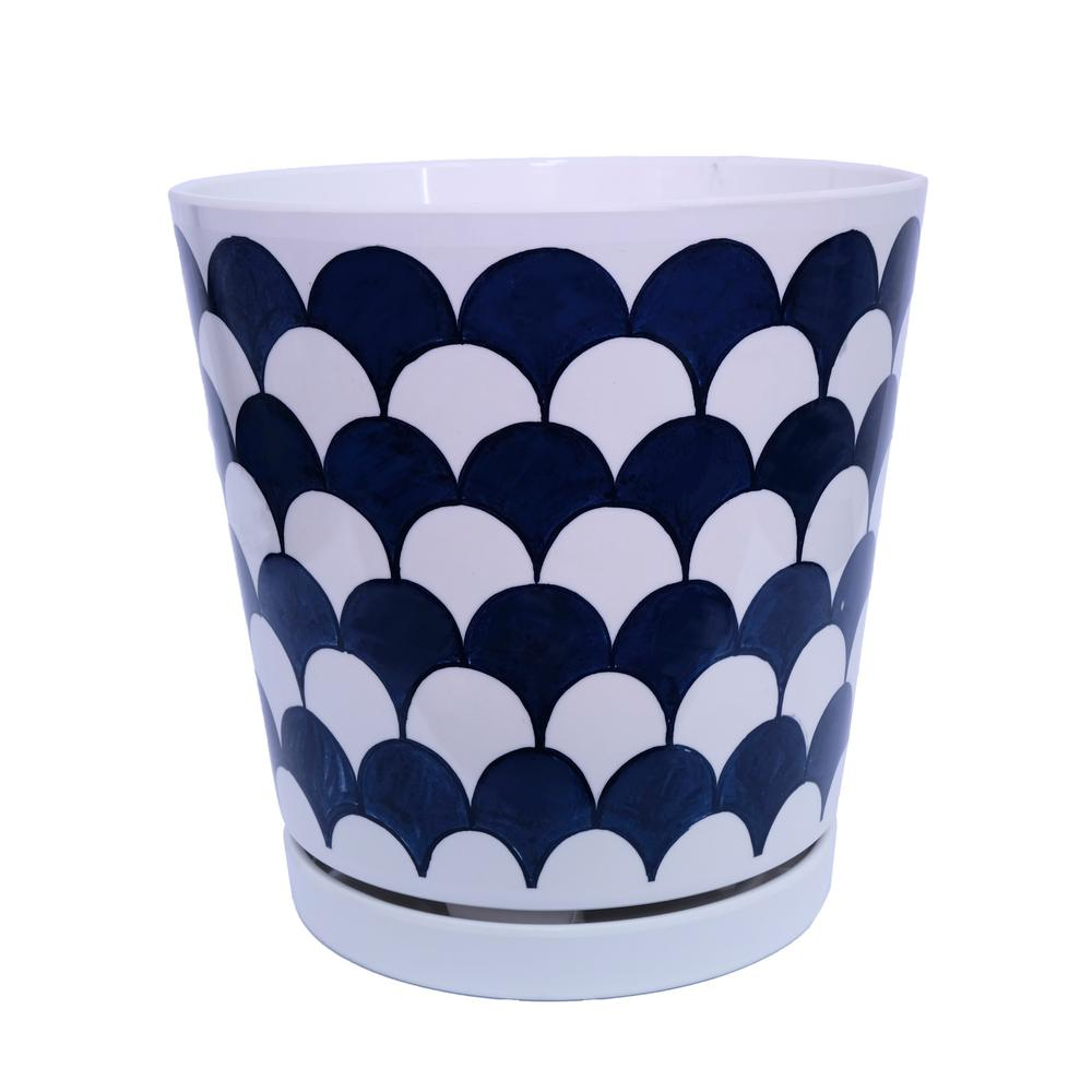 8.75 in. Dia Blue and White Scale Melamine Planter Pot with