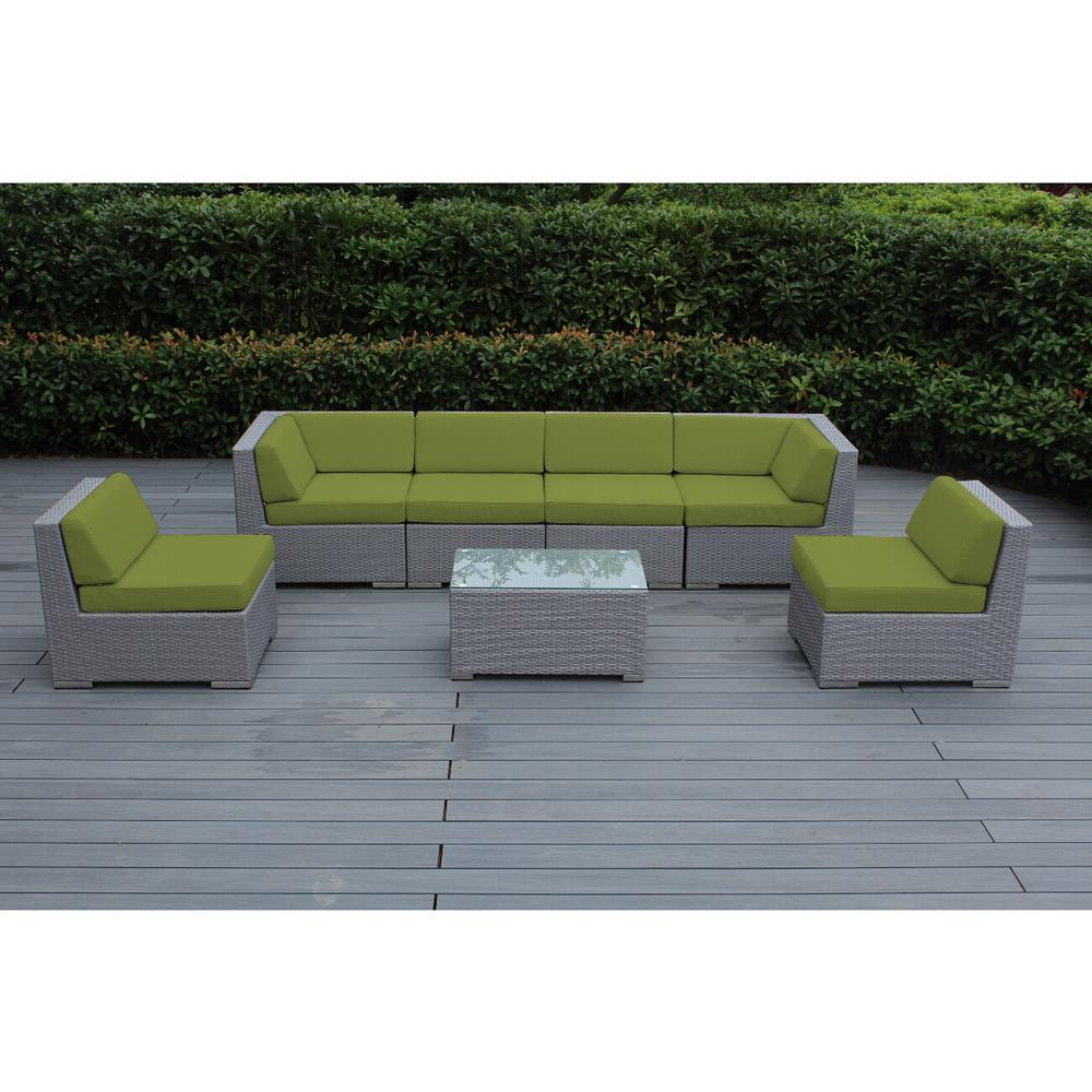 Ohana Gray 7-Piece Wicker Patio Seating Set with Spuncrylic Peridot Cushions