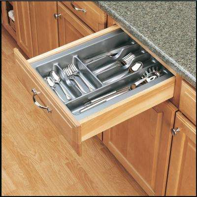 2.375 in. H x 14.25 in. W x 21.25 in. D Medium Glossy Silver Cutlery Tray Drawer Insert