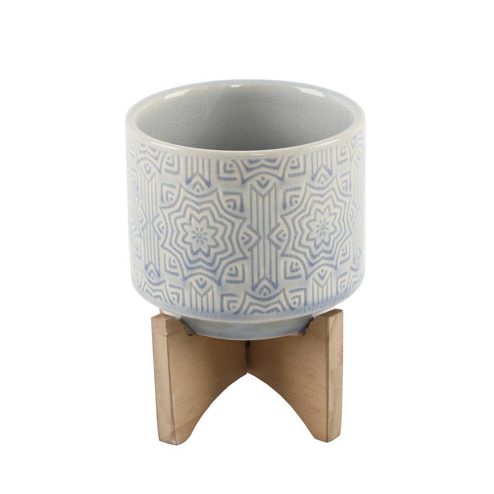 Flora Bunda 4.25 in. Glass Blue Star Ceramic Plant Pot on Wood Stand Mid-Century Planter