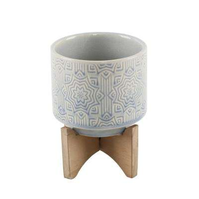 4.25 in. Glass Blue Star Ceramic Plant Pot on Wood Stand Mid-Century Planter