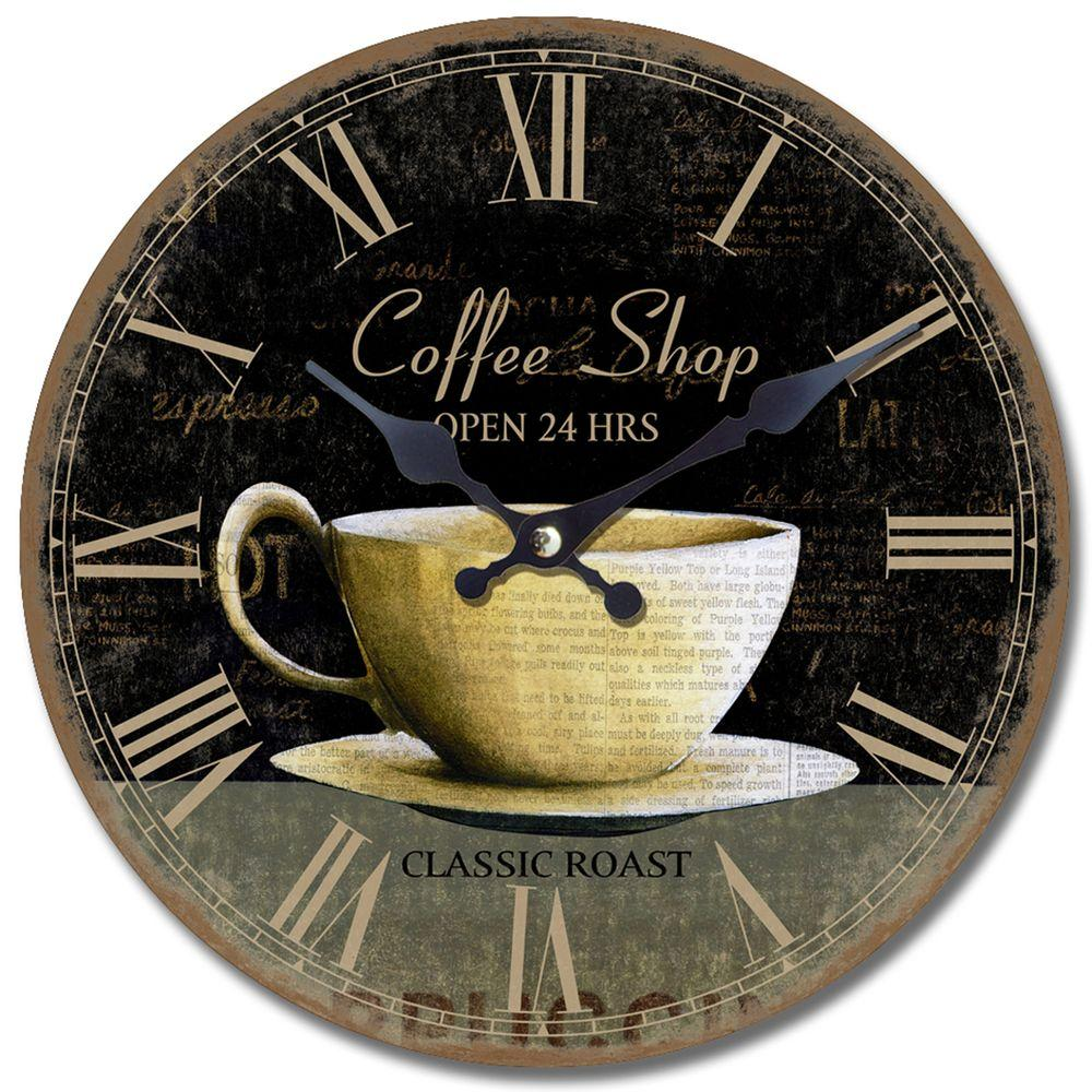 Yosemite Home Decor 13.5 in. Circular Wooden Wall Clock with Coffee Cup Print