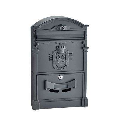 Black Steel Ancient Castle Design Mailbox