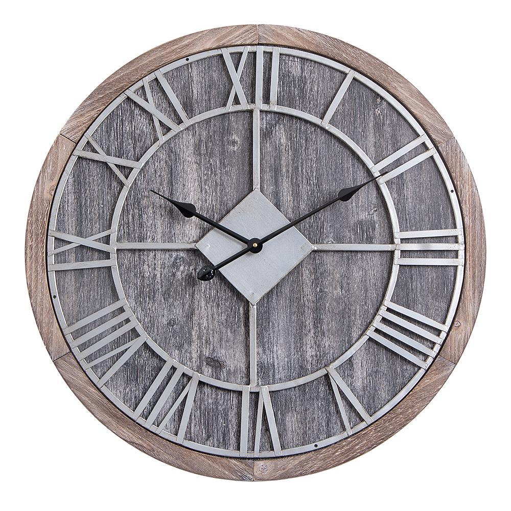 d64ae0555e35 Utopia Alley Oversized Roman Round Wall Clock, Gray Wood finish, 28