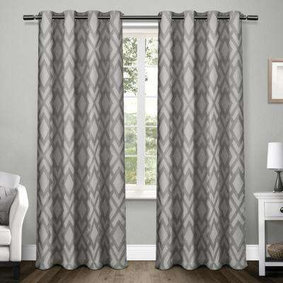 Easton 54 in. W x 96 in. L Woven Blackout Grommet Top Curtain Panel in Black Pearl (2 Panels)