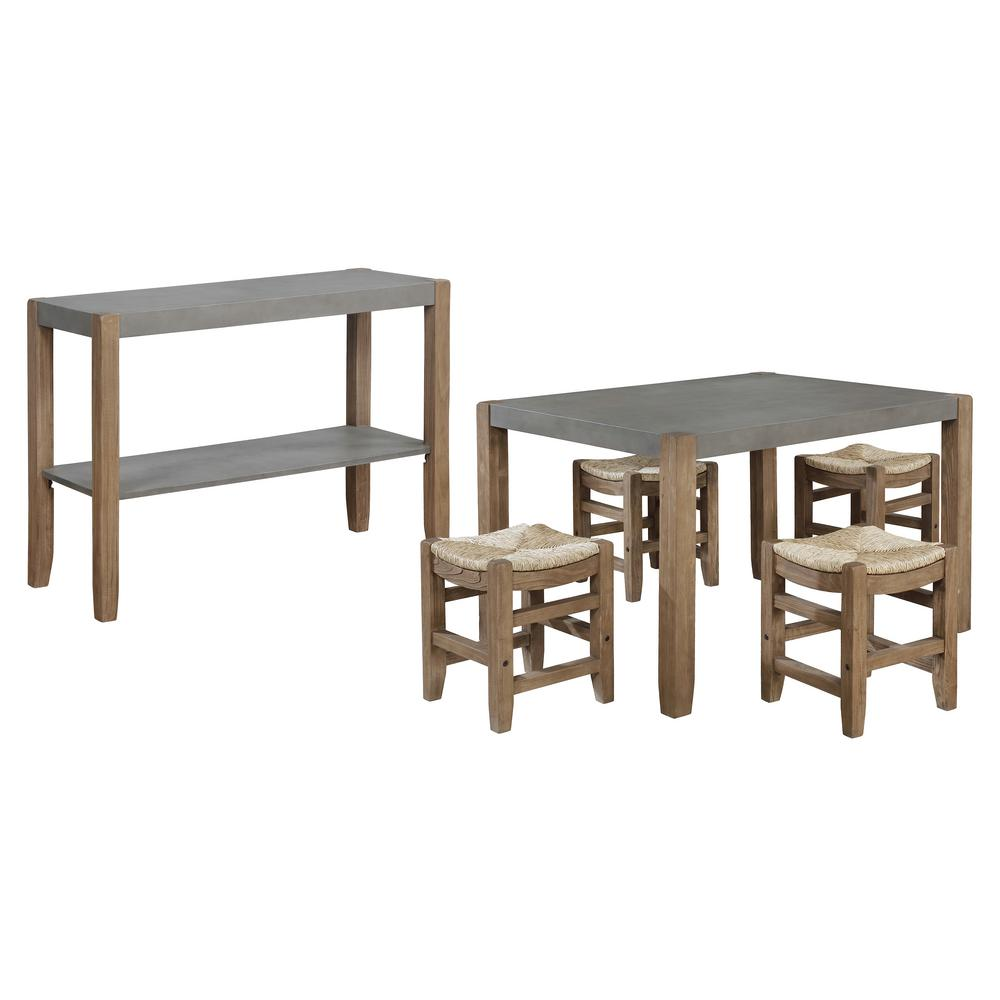 Alaterre Furniture Newport 6 Piece Light Amber With Table 4 Stools And Side Buffet Table Wood Dining Set Annp14172071 The Home Depot