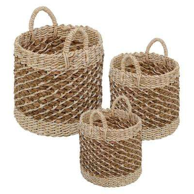 Coastal Collection 15.75 in. x 15.75 in. x 15.75 in. Stackable Woven Storage Bin (3-Pack)
