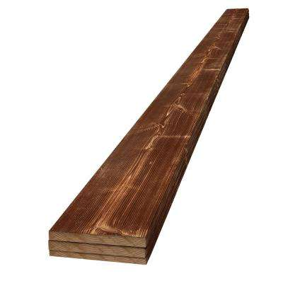1 in. x 6 in. x 8 ft. Canyon Brown Charred Wood Pine Project Board (3-Pack)