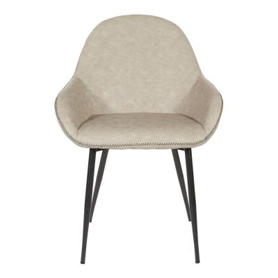 Piper Chair in Fog with Dark Brown Trim and Black Frame