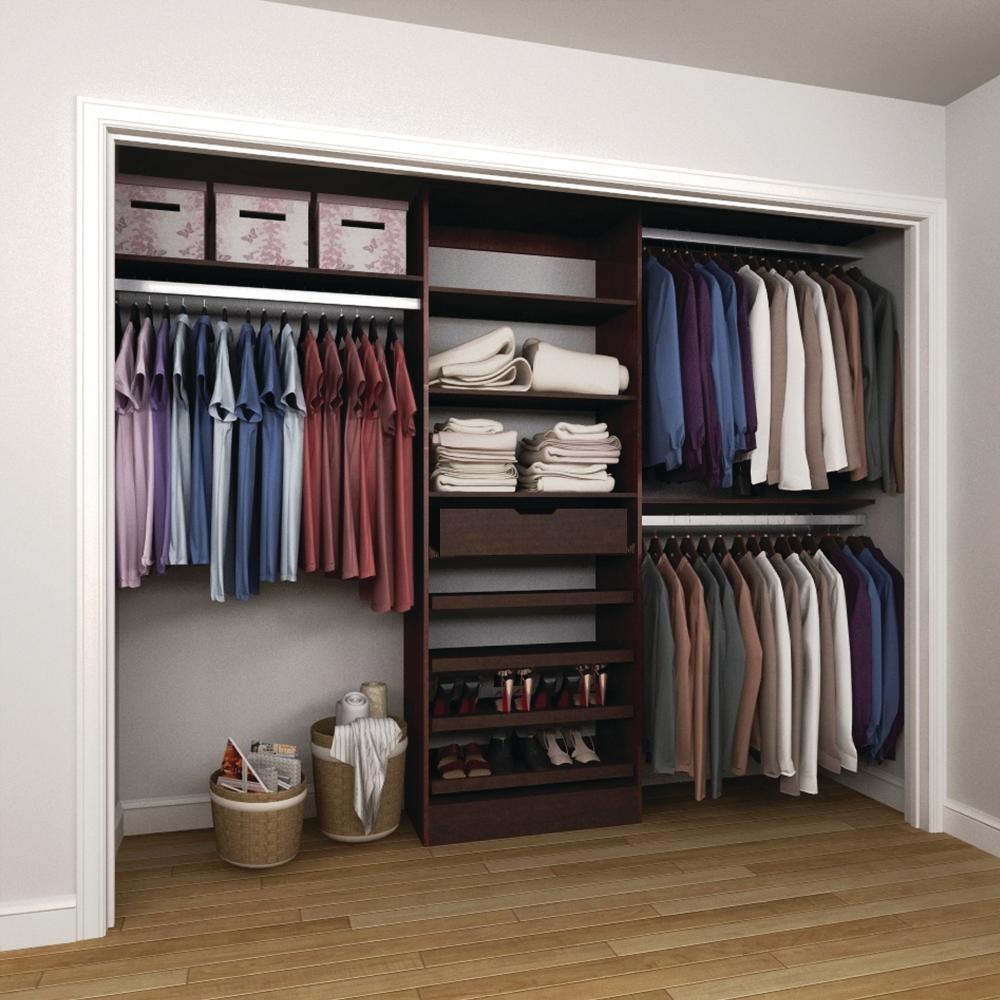 15 in. D x 120 in. W x 84 in. H Melamine Reach-In Closet System Kit in Mocha