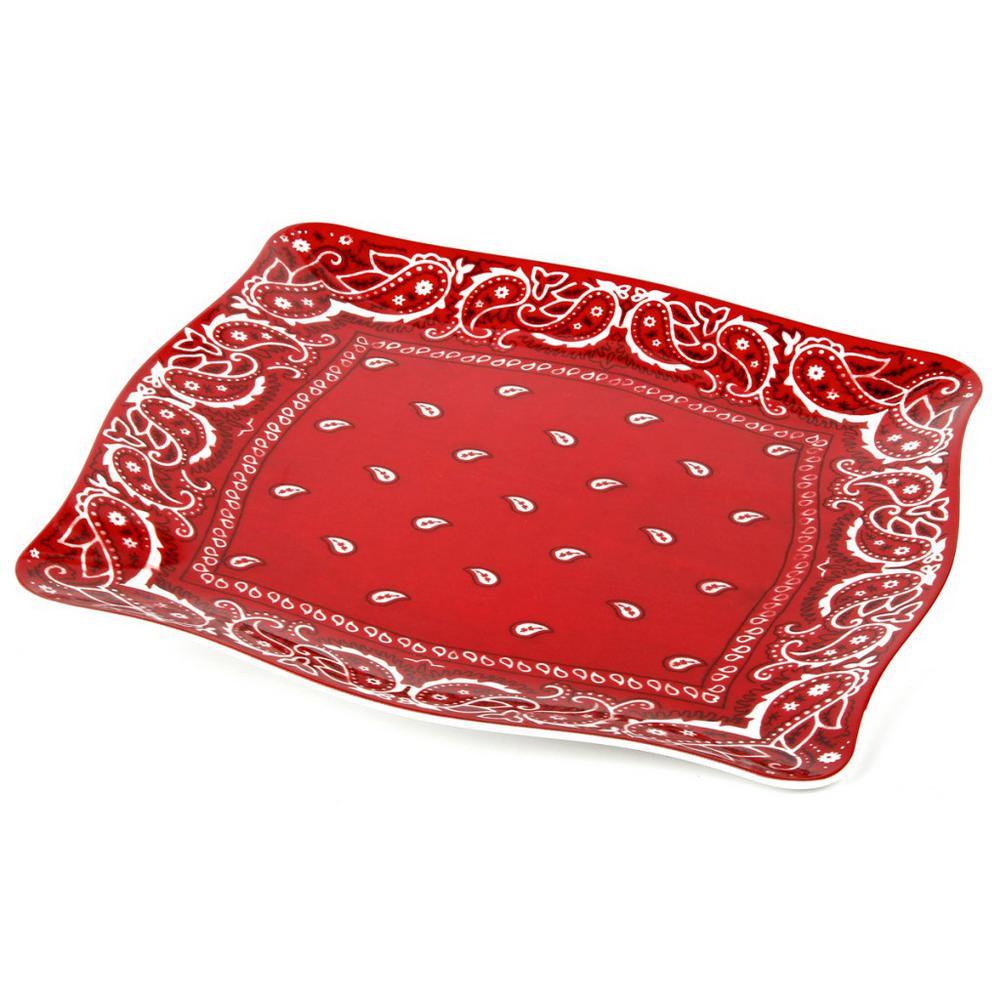 Bandana Red/White Melamine Platter