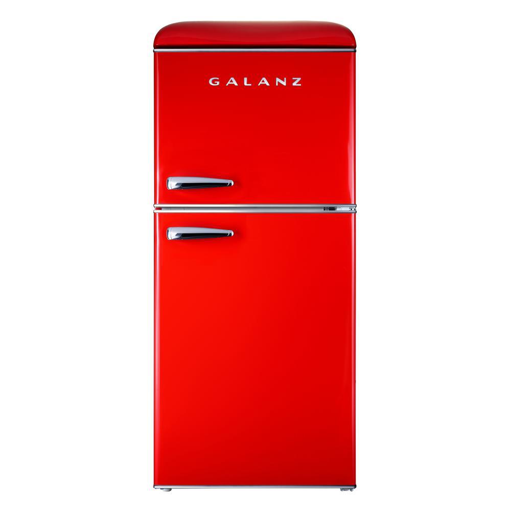 4.0 cu. ft. Retro Mini Refrigerator with Dual Door True Freezer in Red