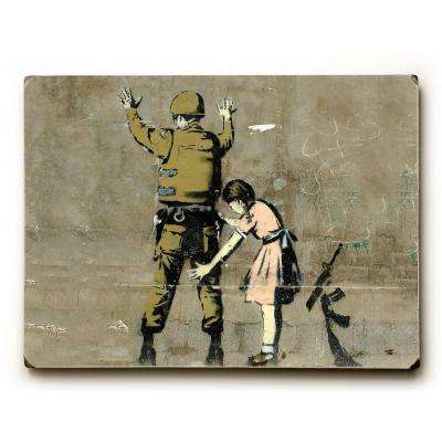"9 in. x 12 in. ""Checkpoint Pigtails"" by Banksy Solid Wood Wall Art"