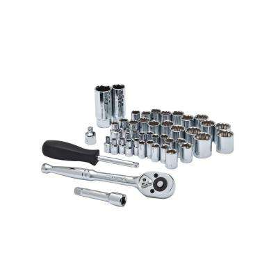 1/4 in. and 3/8 in. Drive 6 and 12 Point SAE/Metric Socket Wrench Tool Set (45-Piece)