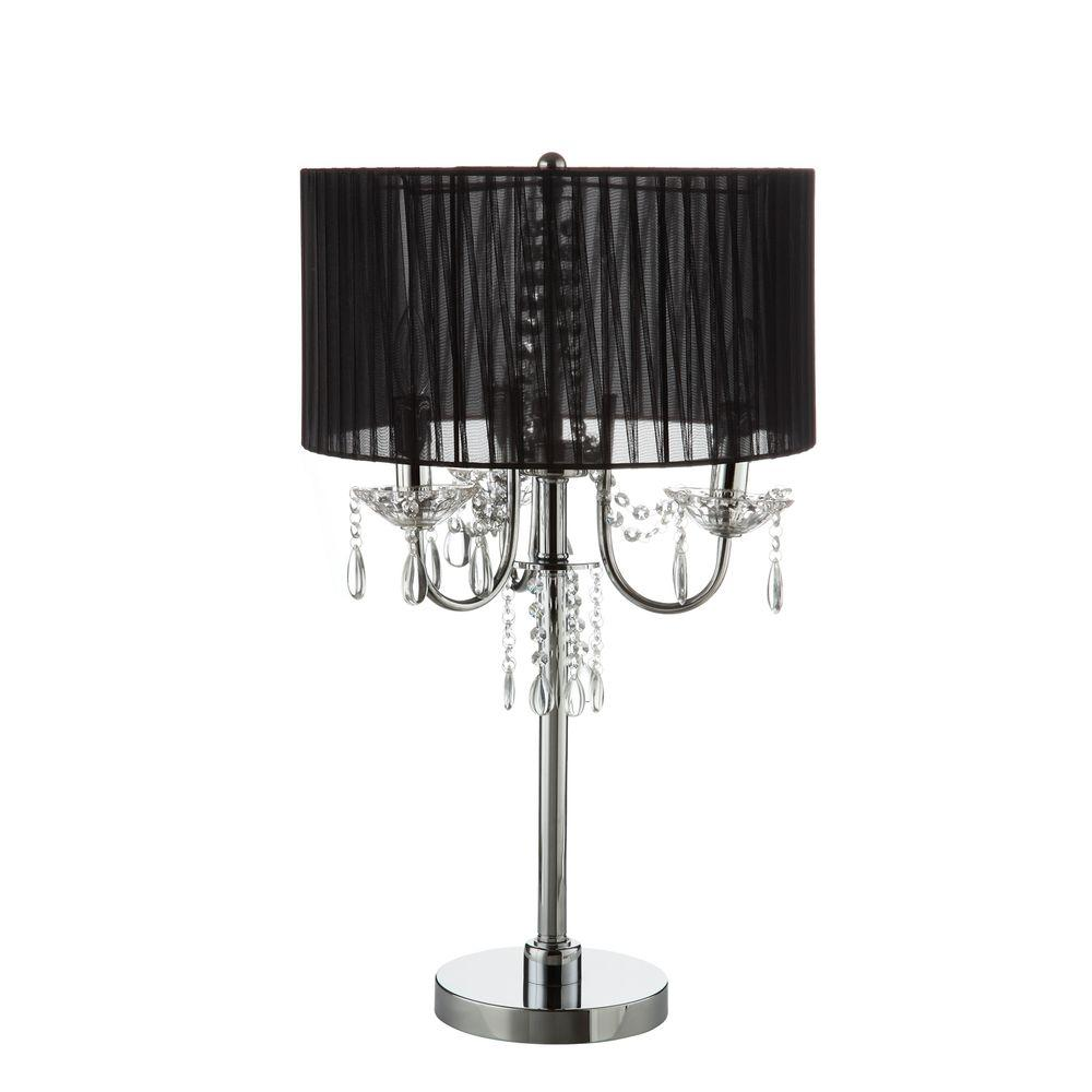 HomeSullivan 27.5 in. Chrome Table Lamp with Black Shade-DISCONTINUED
