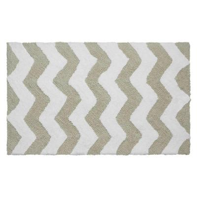 Reversible Cotton Soft Zigzag Ivory 21 in. x 34 in. Bath Mat