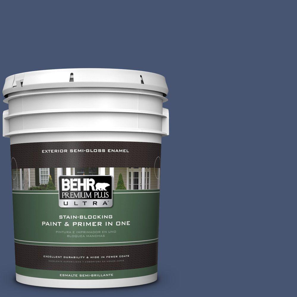 BEHR Premium Plus Ultra Home Decorators Collection 5-gal. #hdc-WR14-7 Hidden Sapphire Semi-Gloss Enamel Exterior Paint, Blues