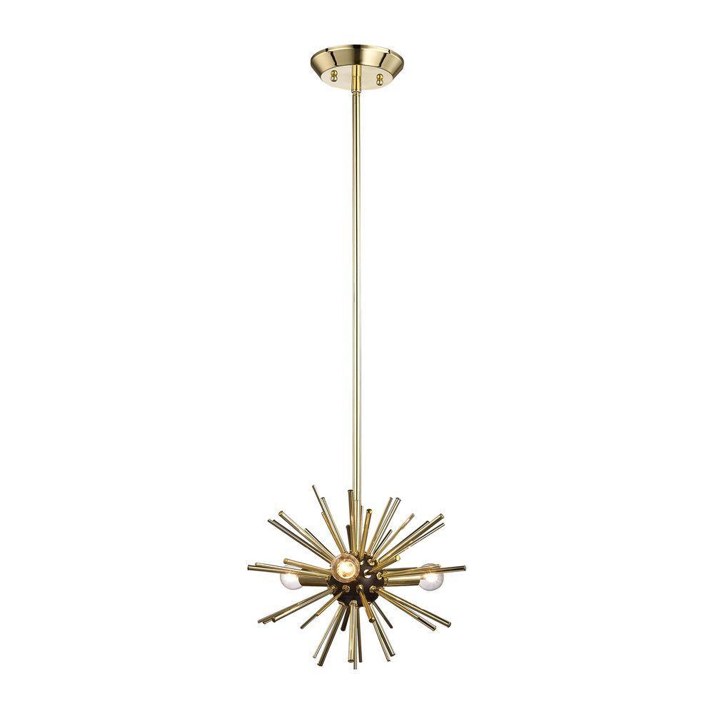 Starburst 3-Light Gold Pendant