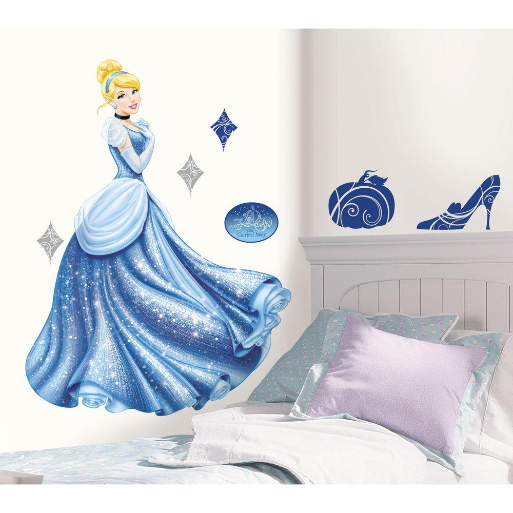 null 18 in. x 40 in. Disney Princess - Cinderella Glamour 18-Piece Peel and Stick Giant Wall Decal
