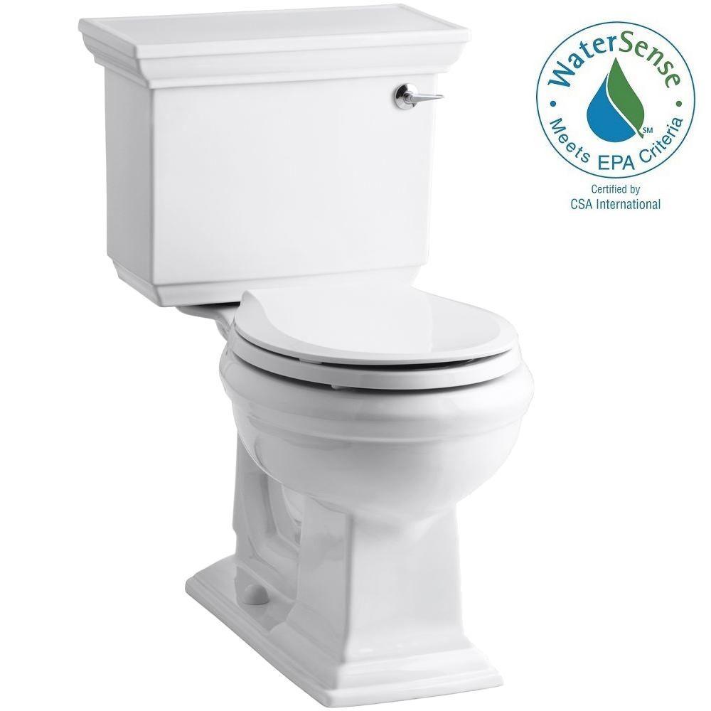 Memoirs Stately 2-piece 1.28 GPF Round Toilet with AquaPiston Flushing Technology in White
