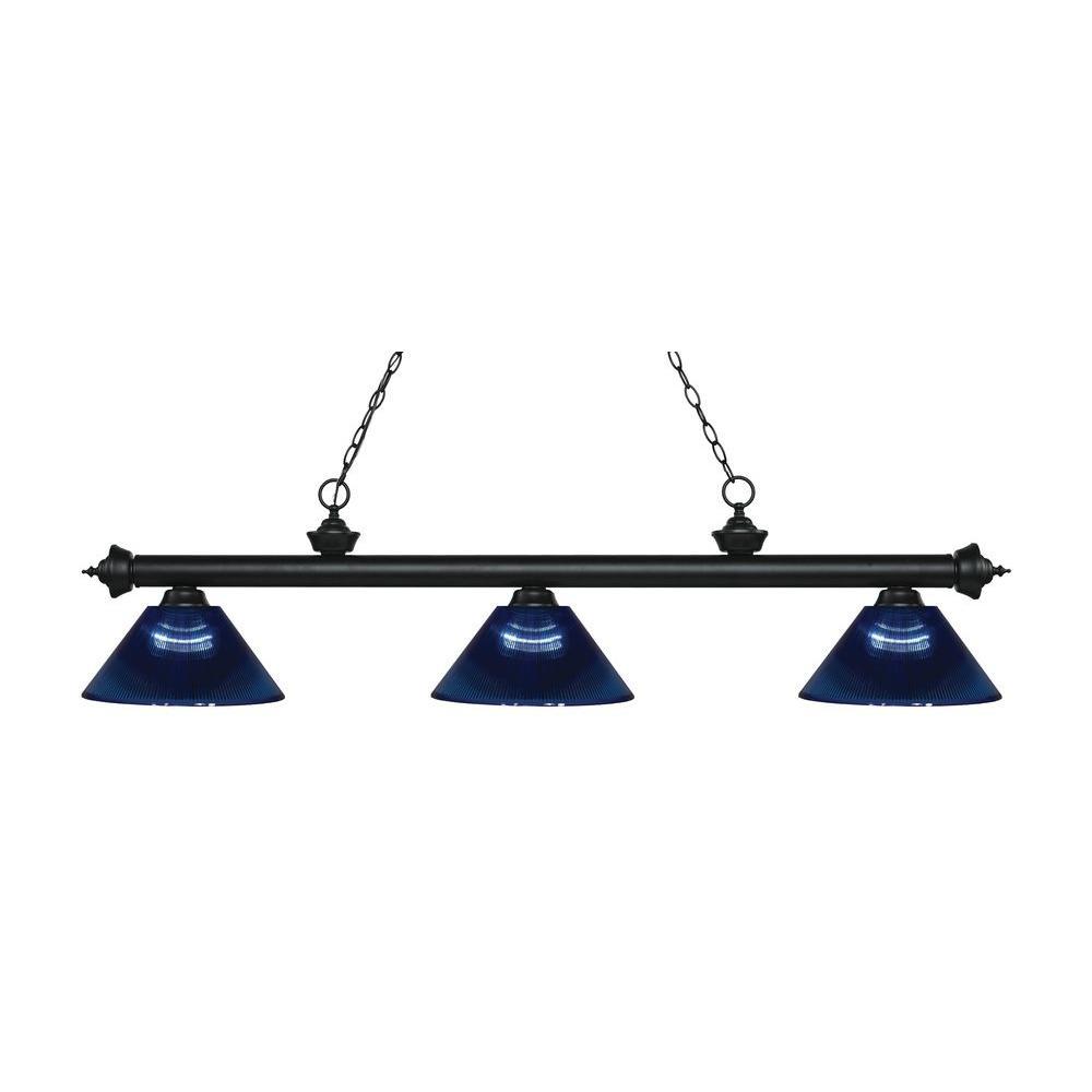 Kirik 3-Light Matte Black Island Light with Dark Blue Shades