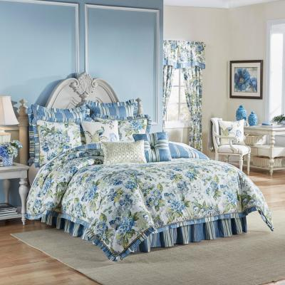 Floral 4-Piece Porcelain Stripes King Comforter Set