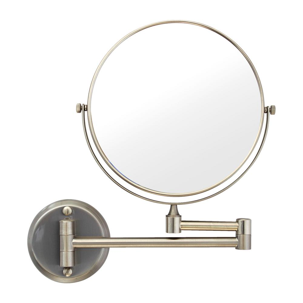 MODONA 8 in. Two-Sided 1X and 5X Brass Magnifying Wall-Mounted Makeup Mirror in Satin Nickel