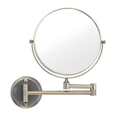 8 in. Two-Sided 1X and 5X Brass Magnifying Wall-Mounted Makeup Mirror in Satin Nickel