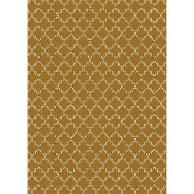 Quaterfoil Design 5ft x 7ft brown & white Indoor/Outdoor vinyl rug.