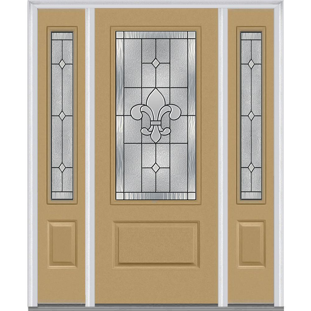 Mmi Door 64 5 In X In Carrollton Decorative Glass 3 4 Lite Painted Fiberglass Smooth