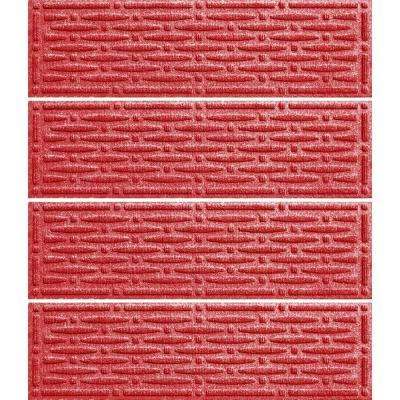 Solid Red 8.5 in. x 30 in. Mesh Stair Tread Cover (Set of 4)
