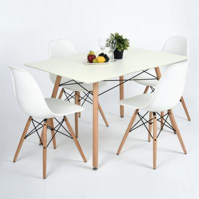 White Mid-Century Modern Wooden Dining Table