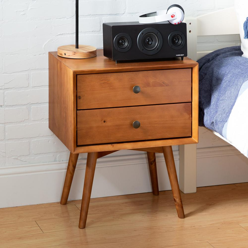 Walker Edison Furniture Company Mid Century Modern Contemporary Transitional 2-Drawer Solid Wood Caramel Night Stand was $153.44 now $105.68 (31.0% off)